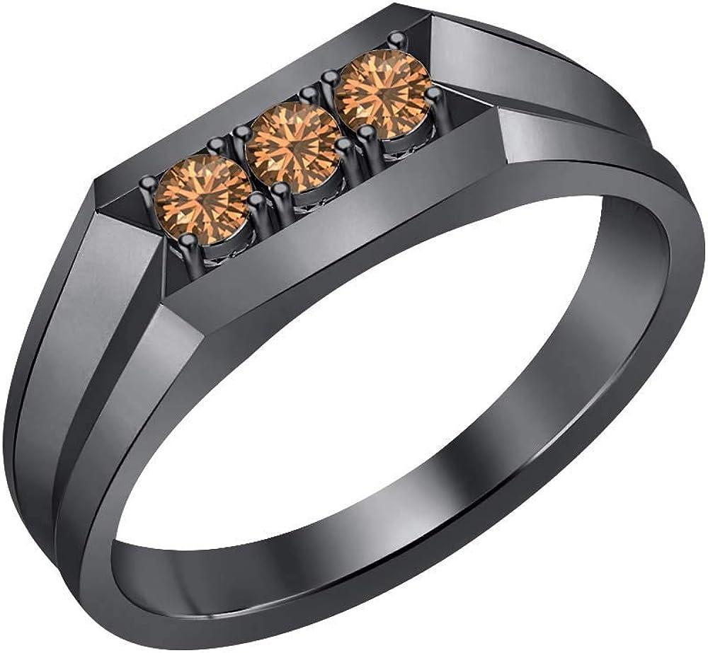 RUDRAFASHION 14k Black Gold Plated Round Cut Brown Smoky Quartz 925 Sterling Silver Mens Anniversary Band Ring