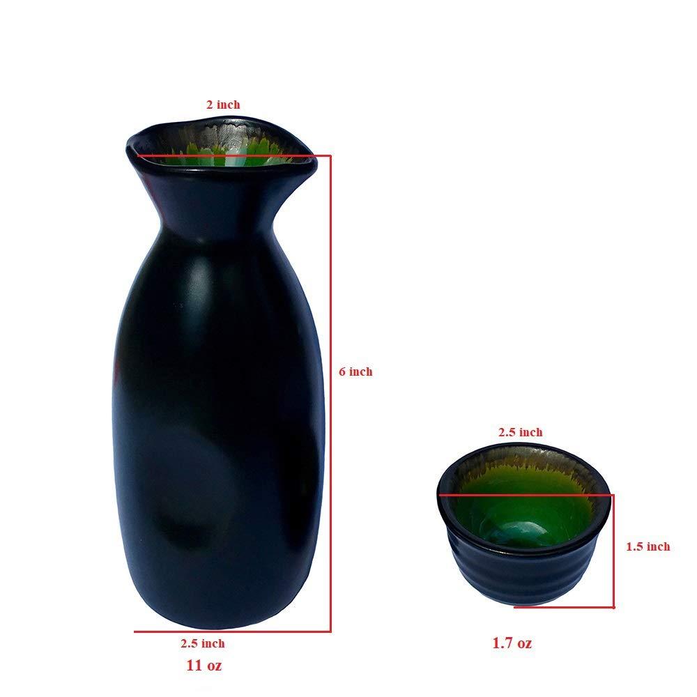 Ceramic Sake Set KBNI Traditional Handcraft Flambed Glazed Ice Crack Pattern Saki Set with 1pcs Sake Pot 4pcs Sake Cups