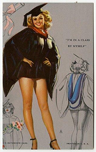 Vintage Pin Up Mutoscope Arcade Card W/ KO Munson Graduate Girl Mint Condition Cheesecake From Original 1940s Storage - Mint Cheesecake