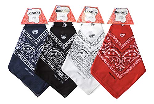 Set of 4 Assorted Colors Paisley Bandanas 100% Cotton -