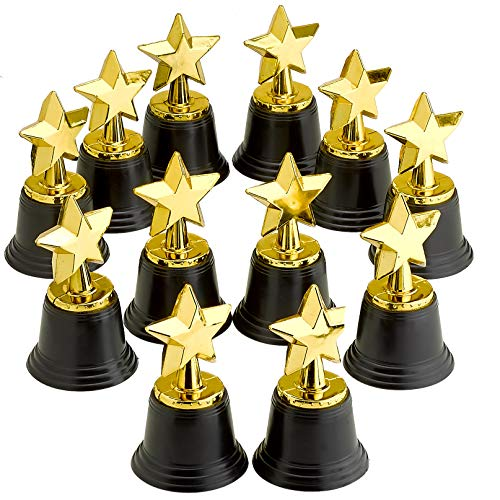 4.5 Inches Plastic Golden Star Trophy - 12 Pieces Achievement Prize Award - Perfect Special Recognition Award in School, Sports and Office, Carnival Victors, Party Favors and Accessories, -