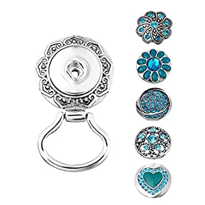 Souarts Interchangeable Eyeglass Holding Snaps Magnetic Brooch with 5 Blue Rhinestone Sanp Charm Buttons