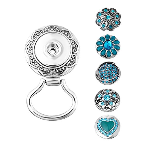 Eyeglasses Charm - Souarts Interchangeable Eyeglass Holding Snaps Magnetic Brooch with 5 Blue Rhinestone Sanp Charm Buttons