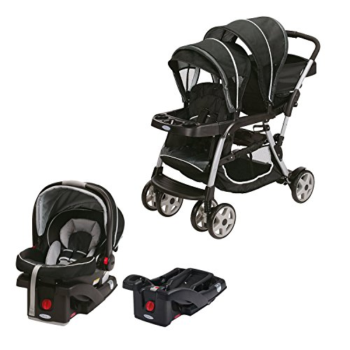 Graco Double Baby Stroller + SnugRide Car Seat + Car Seat Base Travel System by Graco
