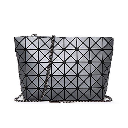 Flada señoras hombro bolsas conjuntas Split geométrica Plaid bolsos para mujer Matte lijado Diamond Red Cross Body Bags oro Grey