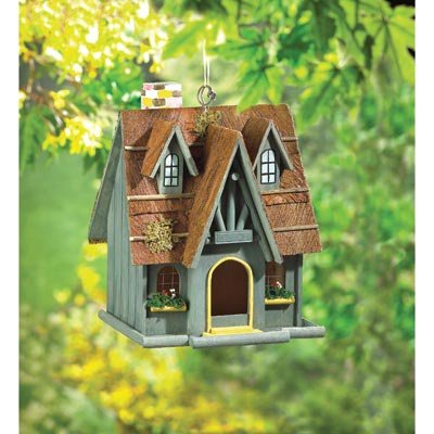 Clever Birdhouse - 29312 Wholesale Thatch Roof Chimney Birdhouse Garden Decor Decoration Outdoor Front Yard Frontyard Home House Grass Flowers