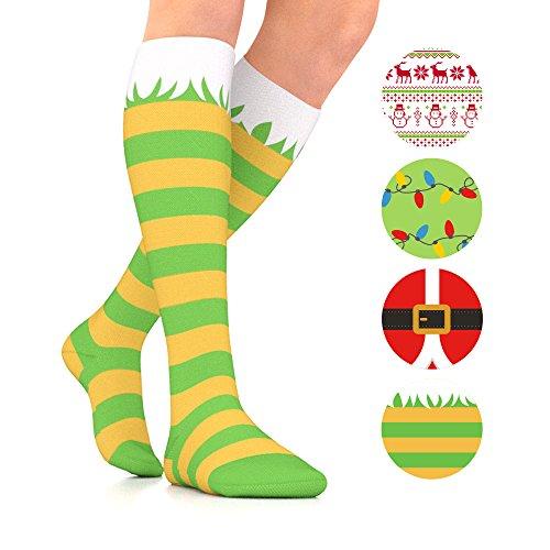 Go2Socks Compression Socks for Women Men Nurses Runners 15-20 mmHg (Medium) - Medical Stocking Maternity Travel - Best Performance Recovery Circulation Stamina (Elf, Large) ()