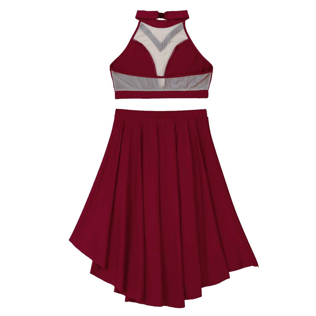 dPois Femme Asym/étrique Robe Danse Robe de Danse Latine Jupe Danse Orientale Jupe Ete Casual Jupette Danse Robe Patinage Artistique Justaucorps Gymnastique Body XS-XL
