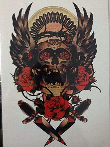 Day Of The Dead Pin Up Costume (Red roses day of the dead dia de los muertos dead skull temporary tattoo body art metallic flash body jewelery fake tattoo)