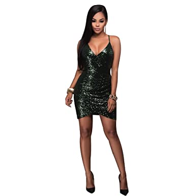 604e75eae6359 Amazon.com: PrettySoul Women's Sexy Spaghetti Strap V-Neck Sleeveless  Sequin Bodycon Cocktail Mini Dress: Clothing