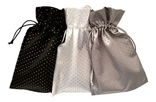 Tarot and Dice Bags: Contrast Colors Satin and Pearl Bundle of 3: Black White and Silver (6'' X 9'' Each)