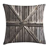 Ambesonne Rustic Throw Pillow Cushion Cover, Old Wooden Door with Planks Rustic Country Life Themed Architecture Building Doorway, Decorative Square Accent Pillow Case, 28 X 28 Inches, Taupe Review