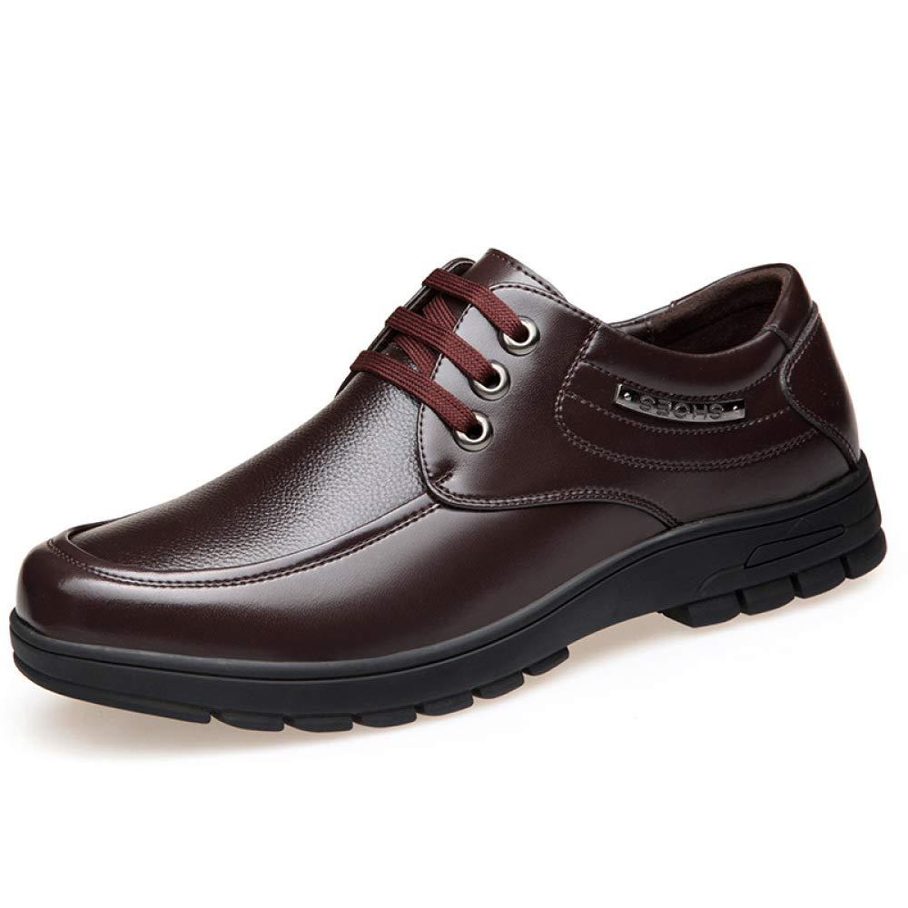 Koyi Herren Leder Schuhe Frühling Geschäft Kleid Schuhe beiläufige Schuhe von Mittlerem Alter Vaters Schuhe Runden Kopf Niedrig, Um Bequem und Atmungsaktiv zu Helfen Braun