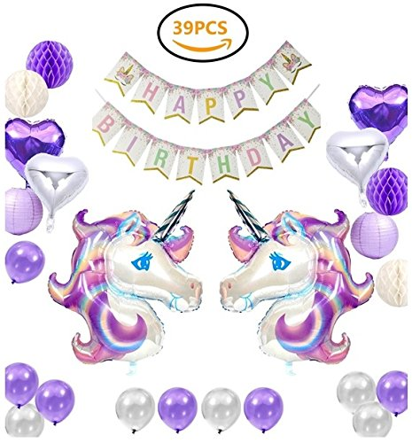39 Pack Birthday Banner for Girls with 2 Huge Unicorn Balloons Unicorn Happy Birthday Party Decoration by Smiling Wolf 2 Lanterns and 12 Latex Balloons 4 Pom Pom Balls Party Supplies 4 Heart-shaped Balloons 1 Birthday Banner