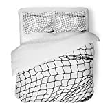 SanChic Duvet Cover Set Goal Net Pattern Rope Silhouette Soccer Football Volleyball Tennis Fisherman Hunting Goalkeeper Decorative Bedding Set Pillow Sham Twin Size