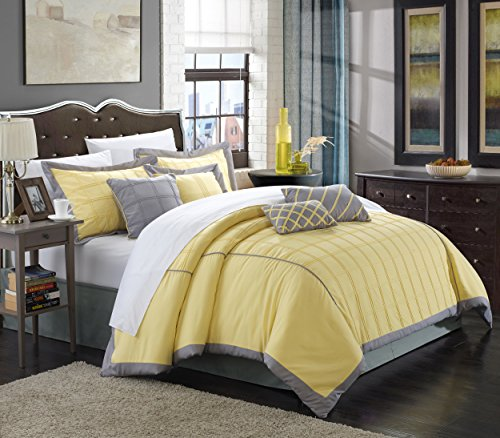 Chic Home 8 Piece Rhodes Pintuck Color Block Comforter Set, Queen, Yellow