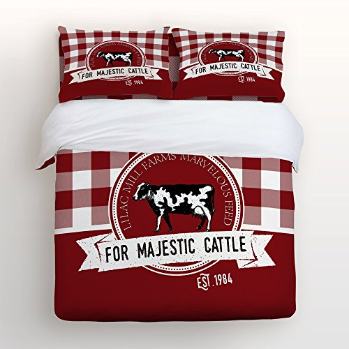 Style Ranch Bedspread (Z&L Home Luxury Soft 4 Pieces Queen Size Bedding Sets Duvet Cover Flat Sheet Farm Animal Ranch Cow Red Checker Plaid Bedspread for Childrens Kids Teens Adults)