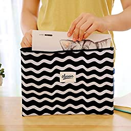 Funnylive 4pcs Zippered Canvas File Bags A4 Document Bags Black and White Envelope Receive Bag,Set of 4 in 4 assorted Colors