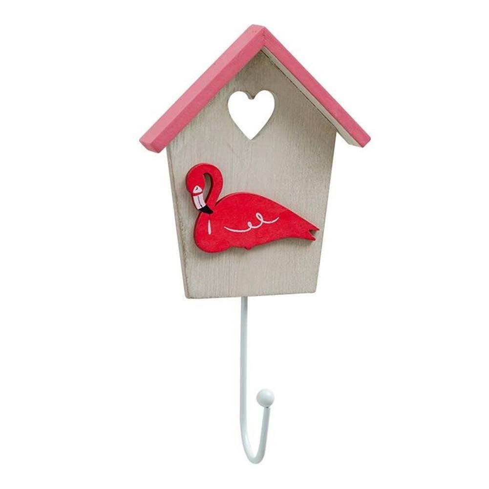 Yililay House Shape Wall Hook Wood Flamingo Hanging Hanger Key Holder Wall Mounted Coat Hook