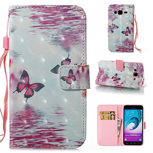 Leather Synthetic Shell (Galaxy J310 / J3 Case,Firefish Galaxy Amp Prime Case, Galaxy Express Prime Case,Synthetic Leather Shell Scratch Resistant Protective Cover Wristlet Card Slot Holder Case for Samsung J310 /J3-Butterfly)