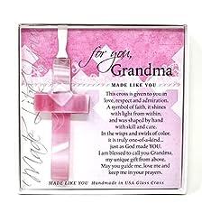 Gift for Grandma: Handmade Glass Cross a...