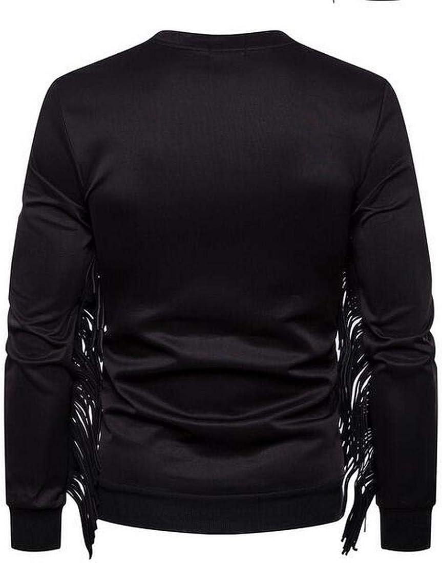 Bravepe Men Round Neck Stylish Pure Color Tassels Long Sleeve Sweatshirt Coat Jacket Sweaters