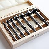 7 16 drill bit long - FORSTNER DRILL BIT SET, 7 PCS, White & Tin Coated Finish, Durable, Easy to Carry Around, Great for Making Precise Holes, Reduced Shank Center Drill Bit for Wood Drilling, Comes with Wooden Box