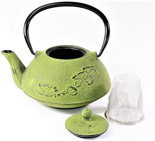 Leaf Cast Iron Teapot (Japanese Antique 24 fl oz Green Ginkgo Leaf Cast Iron Teapot Tetsubin with Infuser)