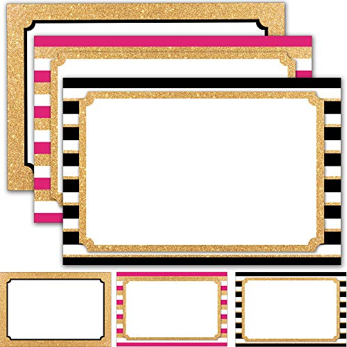 """60 Retail Sale Signs 4"""" x 6"""" - Blank Sign Cards for Price Tags, Labels, Store Advertising and Sales Display Signage - Faux Glitter Gold and Neon Pink Theme"""