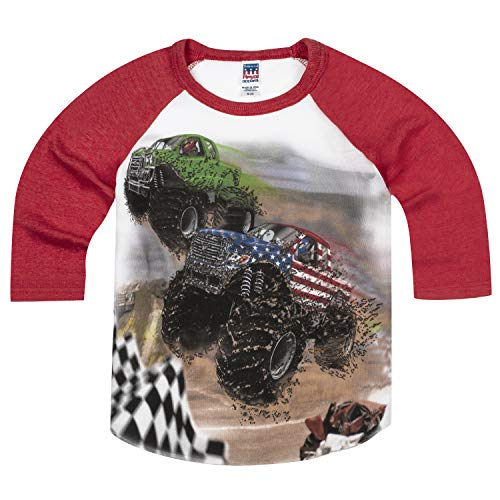 Shirts That Go Little Boys' Monster Trucks Racing Raglan T-Shirt 4 Red Sleeves (Best Monster Truck Venues)
