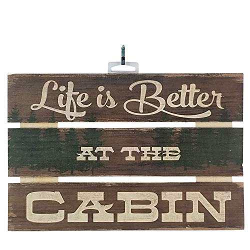 - Imprints Plus Life is Better at The Cabin Inspirational Reclaimed Wood Sign, 12