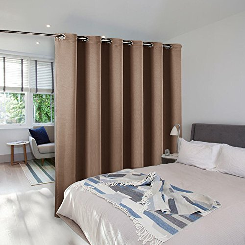 Room Divider Curtain Screen Partitions - NICETOWN Hide Clutter Separate Functions Grommet Top Portable Room Divider Curtain Panel For Sliding Door (Single Panel, 8ft Tall x 10ft Wide,Cappuccino)