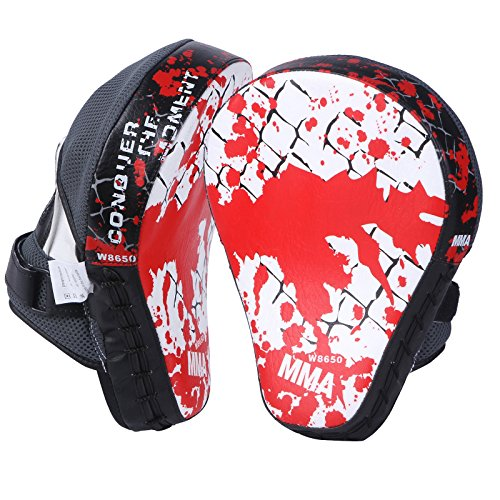 Cheerwing New Target MMA Boxing Mitt Focus Punch Pad Training Glove Karate Muay Thai Kick (White (1 Pair))