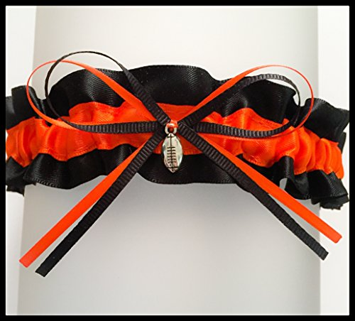 Sexy Black Orange Cincinnati Inspired Satin Football Charm Wedding Keepsake Bridal Garter