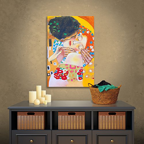 Art Wall 'Interpretation of The Kiss by Gustav Klimt' by Susi Franco Gallery Wrapped Canvas Artwork, 18 by 14-Inch