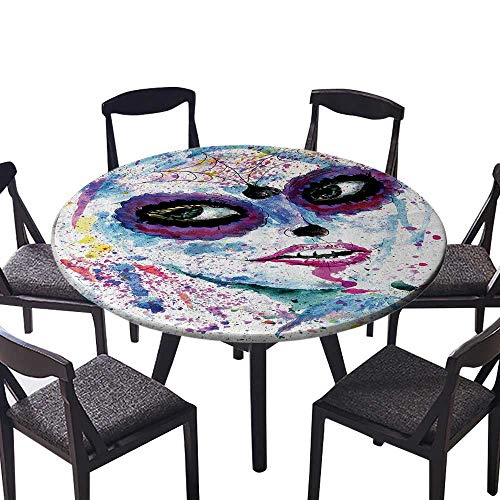 Easy-Care Cloth Tablecloth Grunge Halloween Lady with Sugar Skull Make Up Creepy Dead Gothic Woman Artsy for Kitchen 47.5