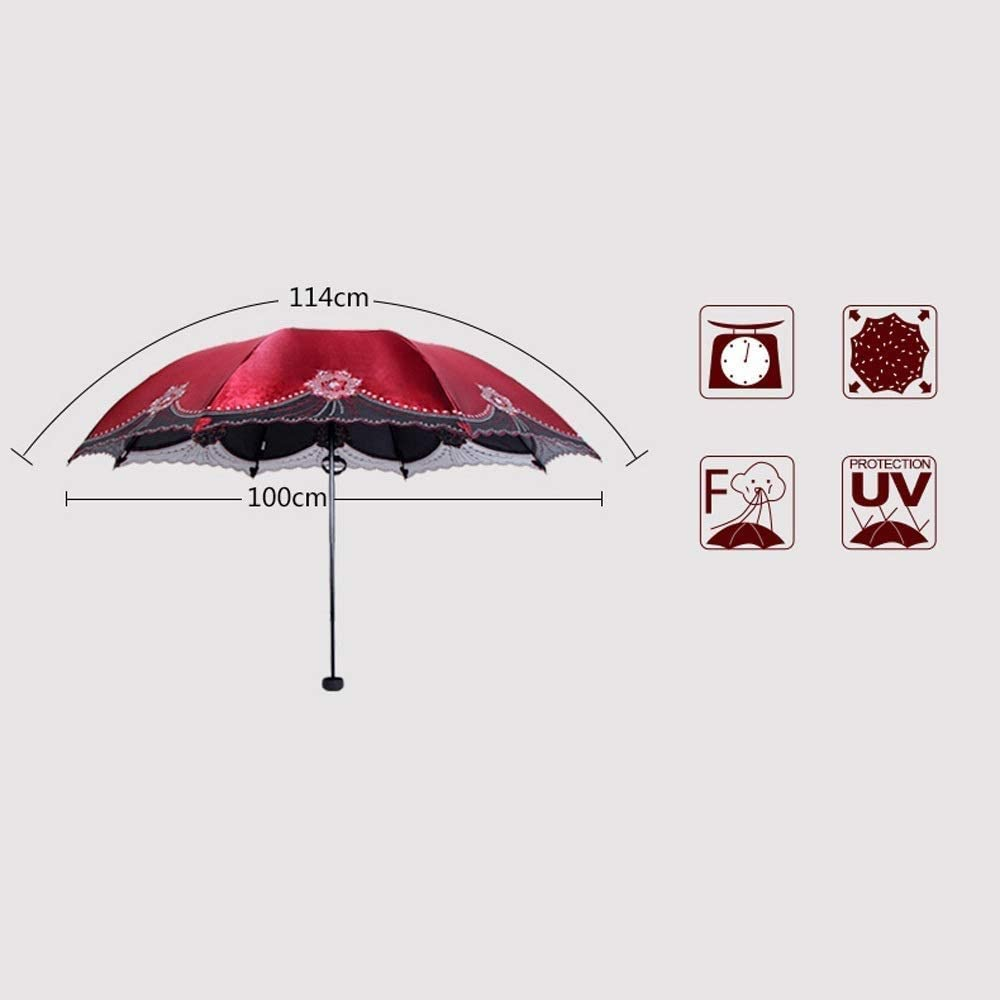 Color : Style B YSSUU UV Protection Sunscreen Umbrella Sun Umbrella Umbrella Black Plastic Folding Umbrella Female Embroidery Umbrella Umbrella