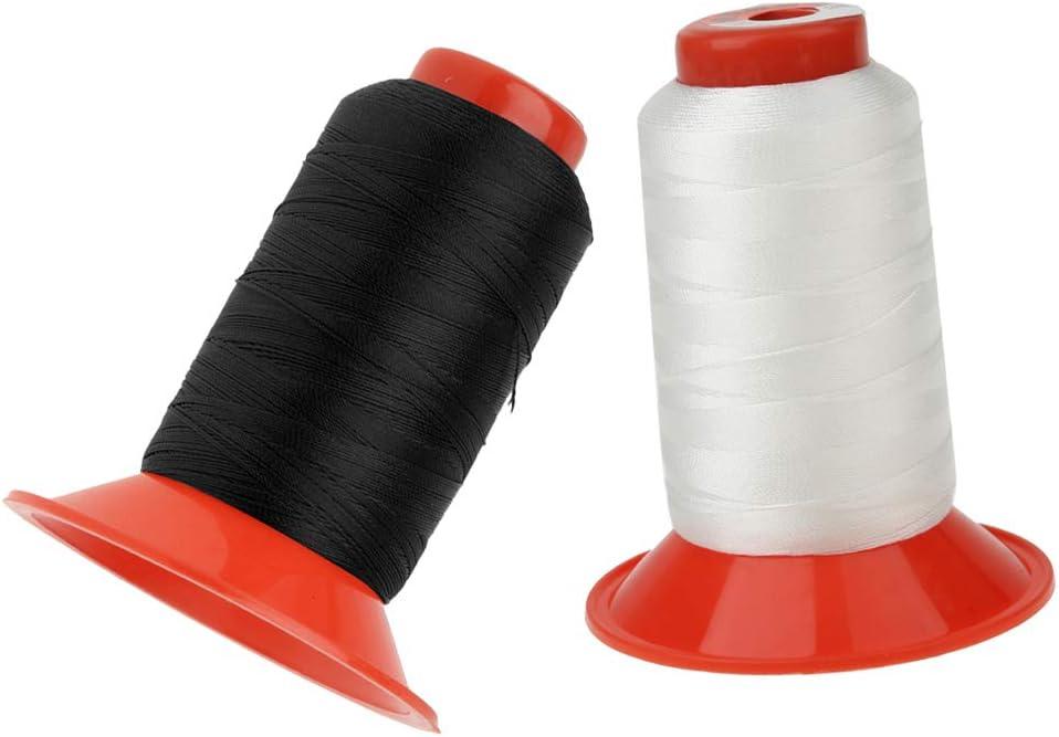 IPOTCH 2 Rollos De 500 Metros Hilo De Coser De Nylon Blanco Y Negro para Costura De Cuero Costura A Mano Y Joyería Artesanía