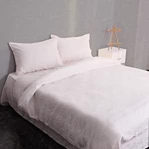 S VICTORY SYMBOL Pure Linen Cover Set-100% French Natural Flax Quilt Duvet Cover Bedding Set,Soft and Durable(Light Pink,Double)
