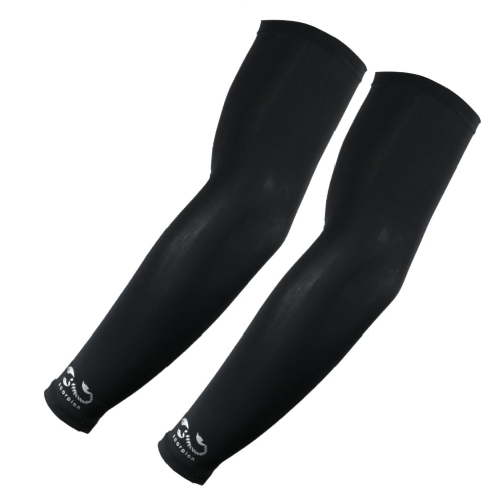 1 Pair, Elixir Armcoolers Sun-Protection Arm Sleeve with Cooling Properties, Black