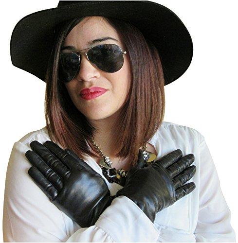 Fownes Women's Silk Lined Black Metisse Lambskin Leather Gloves 7.5/L