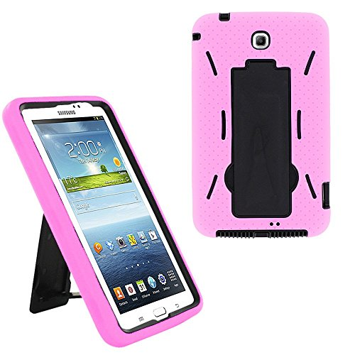KIQ Galaxy Tab 3 7.0 (2013) Case Drop Protection Heavy Duty Full-Body Cover with Kickstand Screen Protector for Samsung Galaxy Tab 3 7.0 inch P3200 T210 T217 (Hybrid Black/Light Pink)