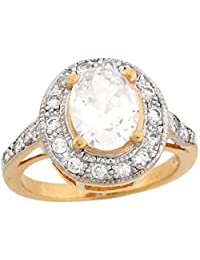 14k Two-Tone Real Solid Gold Oval CZ Halo Engagement Ring
