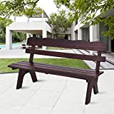 ANA Store Leisure Picnic Field Seat Cathedra Brown Natural Wooden Body 3 Person Backrest Chat Chair 5 Ft 770lbs Outside Furniture for Terrace Deck Back Yard