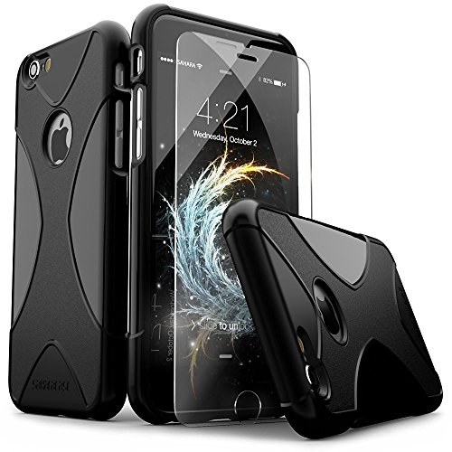 iPhone 6 Case, iPhone 6s Case, Black SaharaCase X-Case Protection Kit withBonus ZeroDamage Tempered Glass Screen Protector [120 Mix-Match Color Combinations] 3-Layer Protective Design (Black)