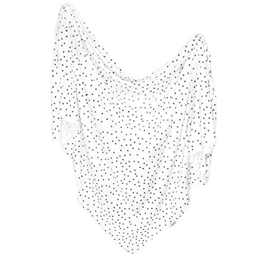 - Large Premium Knit Baby Swaddle Receiving Blanket Black and White Polkadots