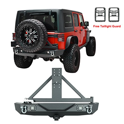 X-restyling-07-16-Jeep-Wrangler-JK-Black-Textured-Off-Road-Rear-Bumper-with-Tire-Carrier-12w-LED-Light-Free-Jeep-JK-Style-Taillight-Guard-Included-XPRN83326XPRN85546