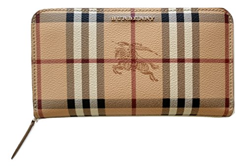 Burberry Women's Haymarket Check and Leather Ziparound Wallet Camel