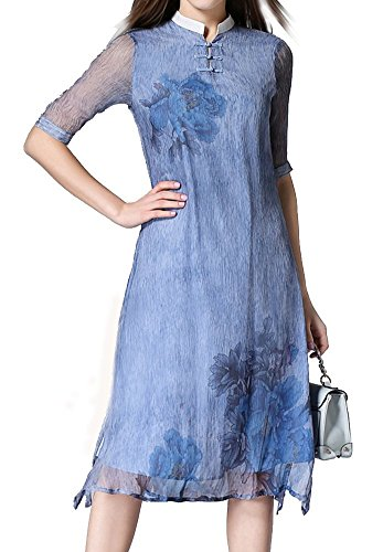 LACUS Women's Fashion High Neck Retro Dress Middle Sleeve Printed Silk Dress (S, blue)