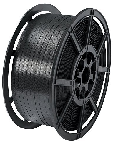 1 Coil Of Strong 12mm Wide Black Plastic Hand Pallet Strapping Banding 1500 Metres Per Coil 310kg Brake//Strength Polypropylene Polyprop Strap